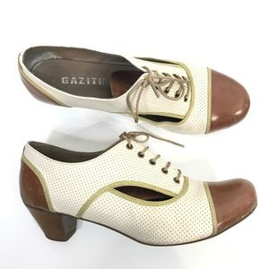 Gazith Brown Cream Leather Oxford Shoes Lace Up